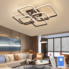 App Rc Vierkante Circel Ringen Plafond Verlichting Voor Woonkamer Slaapkamer Thuis AC85 265V Moderne Led Plafond Lamp Lustre Plafonnier
