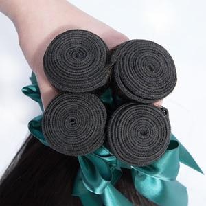 Image 4 - Bling mechones de pelo liso con cierre 100% cabello humano, 3 mechones con cierre, extensiones de pelo Remy peruano, Color Natural