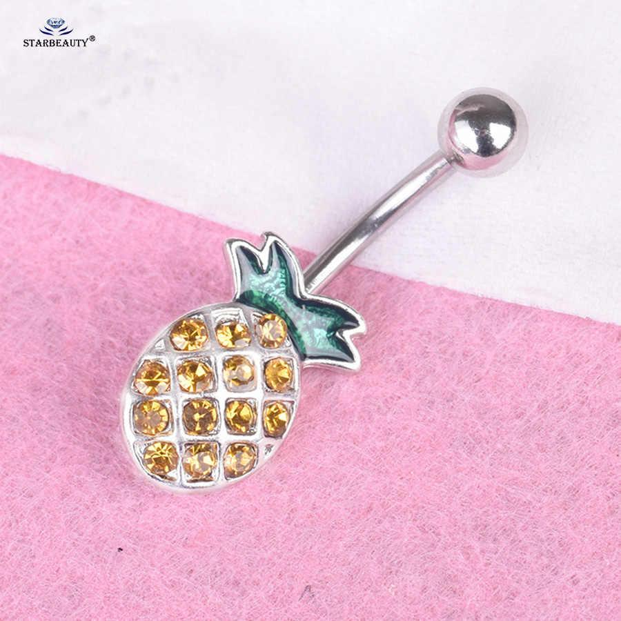 Starbeauty 14G 1.6x10mm חמוד אננס בטן פירסינג Ombligo כתום עגילי טבור טבעות טבור טבעת אוזן פירסינג תכשיטים