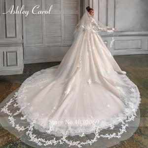 Image 4 - Vestido De Novia De manga larga con cuentas 3D, Vestido De Boda De Princesa De ashily Carol, con apliques De flores 3D, estilo romántico, 2020