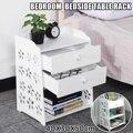 Прикроватная тумбочка для спальни с двумя ящиками  тумбочка для хранения  тумбочка  шкафчик  органайзер  корзина для хранения  дерево-пласти...