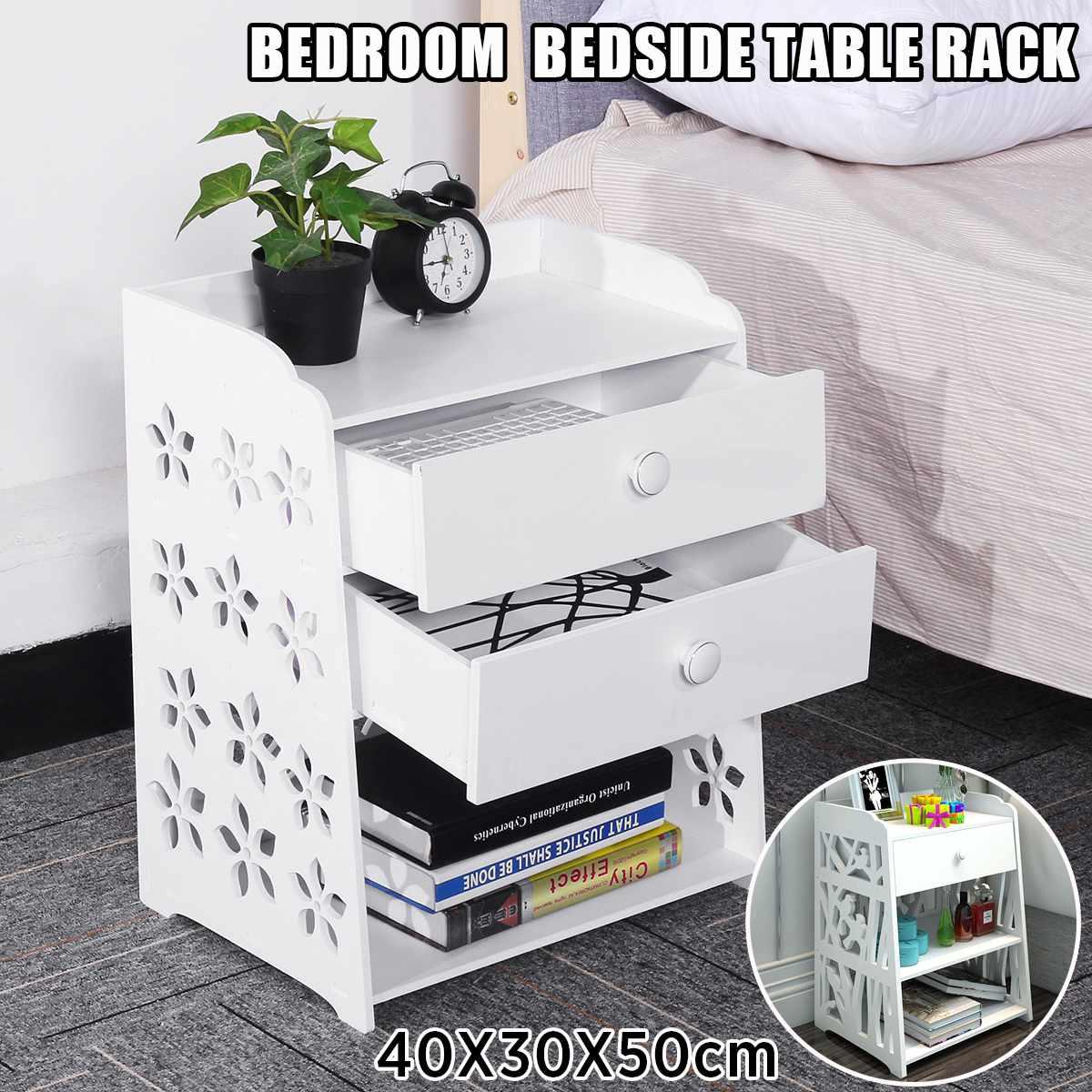 Bedroom Bedside Nightstands Two Drawers Storage Table Rack Night Table Cabinet Locker Organizer Storage Basket Wood-Plastic