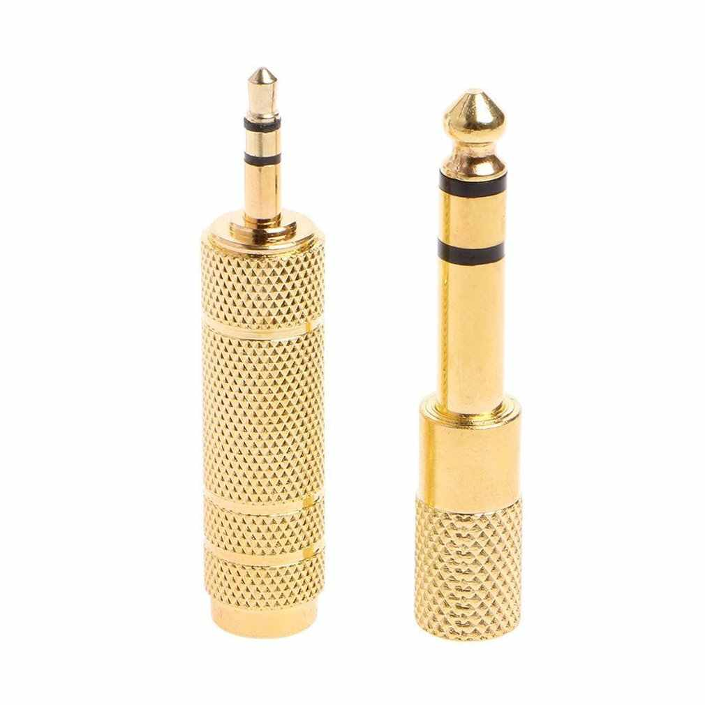 "Mayitr  2Pcs 6.35 mm Jack Stereo Cable Gold 6.5mm 1/4"" Male to 3.5mm Female Audio Adapter Converter For Headphone Microphone"