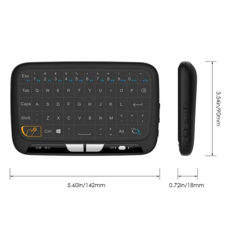 mini black H18 Mini Wireless 2.4GHz Keyboard Air Mouse Large Full Screen Touchpad USB Black New (4)