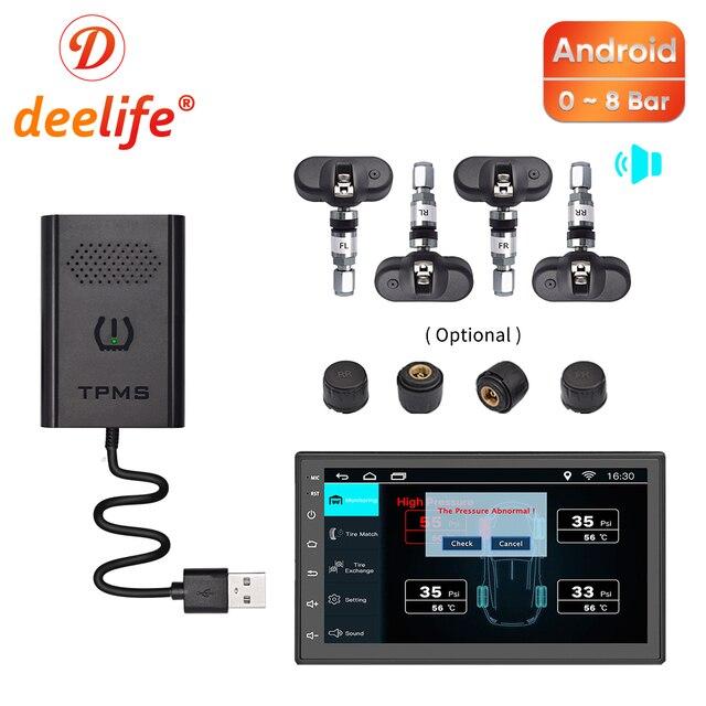 Deelife usb tpms androidのカーラジオdvdプレーヤーオートタイヤ監視圧力システム内部外部センサーtmpsアンドロイド
