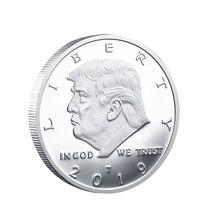 Президент Дональд Трамп Посеребренная памятная монета с орлом
