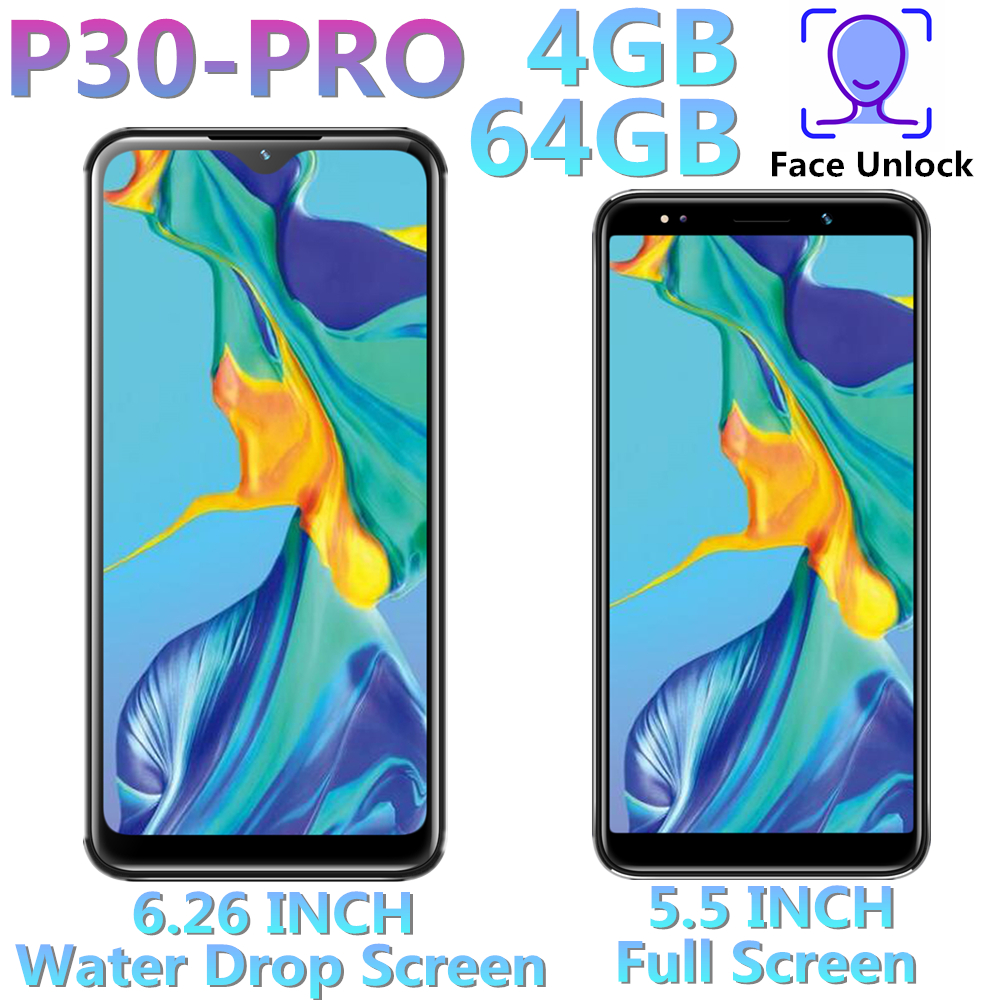 Original P30 Pro Mobile Phones 5.5 / 6.26inch 4GB RAM 64GB ROM Quad Core Smartphones Android Unlocked 8.0 MP Unlocked Cellphones