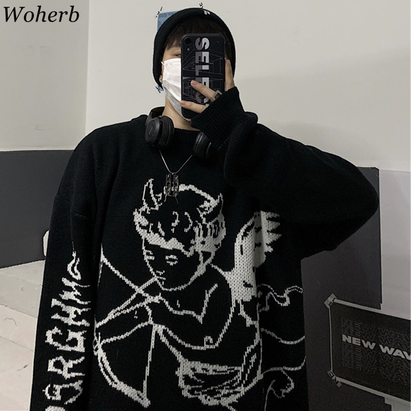 Woherb Sweaters Women Streetwear Knitted Pullover Angel Print Fashion Hip Hop Spring Autumn Harajuku Oversized Outwear  Jumpers