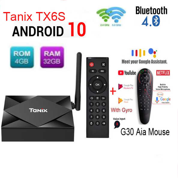 Tanix TX6S Android 10,0 caja de TV H616 Chip TX6 4GB 64GB Dispositivo de TV inteligente reproductor multimedia Dual WiFi Bluetooth 4K decodificador