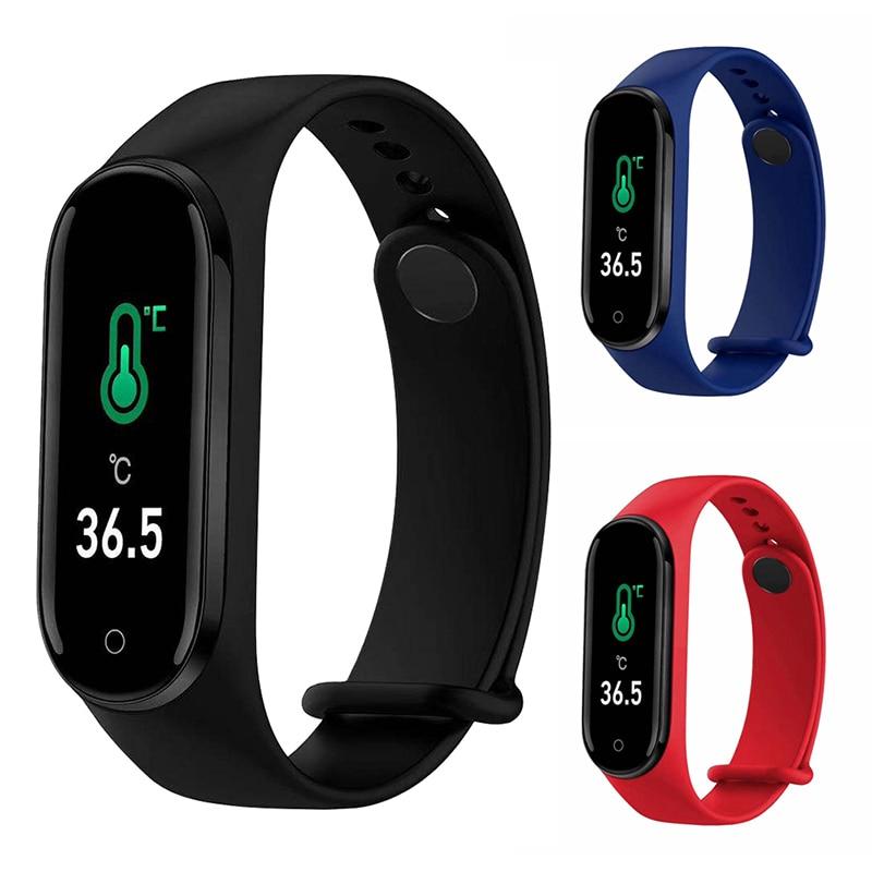 M4pro Temperature Smart Bracelet Blood Pressure Heart Rate Health Monitoring Fitness Tracker Sports Watch Waterproof Wirstbands