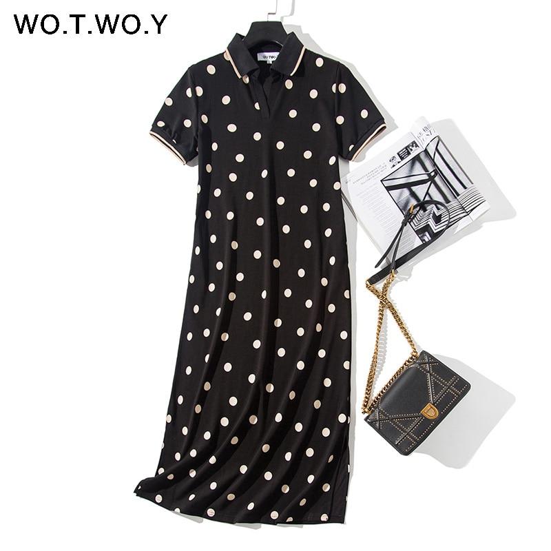 WOTWOY Polka-Dot Print Loose Casual Dresses Women Summer Short Sleeve Cotton Long Polo Dress Women Black Vestido De Festa 2020