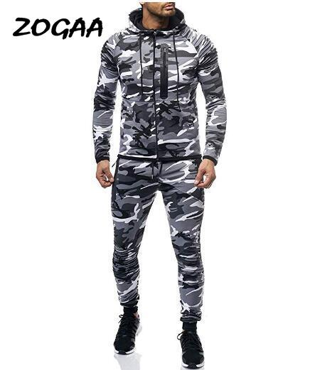 ZOGAA 2020 Men's Sports Suit Fashion Camo Set Arm Fold Personality Fitness Leisure Comfort Set