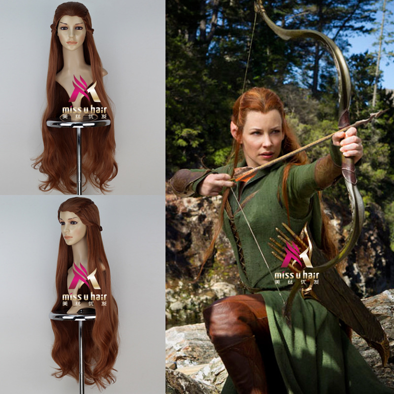 Halloween 100cm Women The Hobbit Tauriel Brown Long Braided Wig Craig Hal Role Play Hair The Lord Of The Rings Elf Women Wig