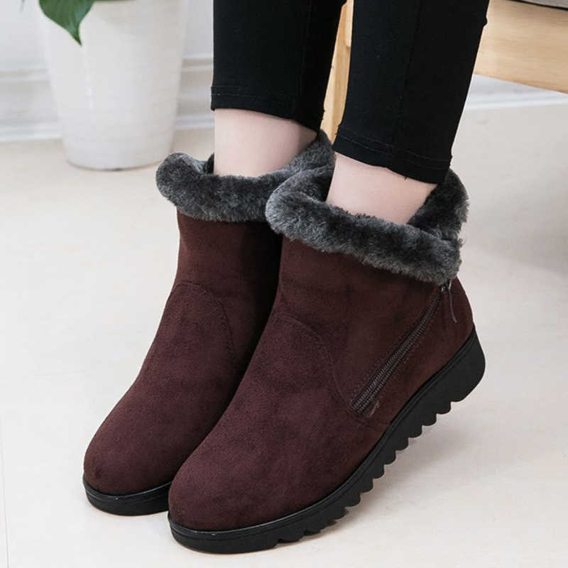 Fashion Women Boots Keep Warm Winter Boots Classic Zipper Snow Ankle Boots For Women Winter Suede Warm Fur Plush Women Shoes