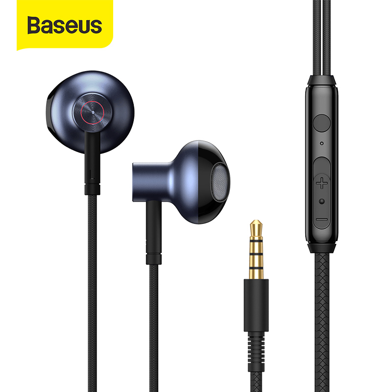 Baseus kablolu kulaklık 3.5mm jack ile kulak kulaklık Mic HD Stereo kulaklık kulaklık kulakiçi Samsung Xiaomi Huawei Sony akıllı telefon
