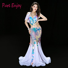 White Pink Princess Fishtail Belly Dance Performance Costume Bling Sequin Shine Team Luxury Outfit Bra Long Skir