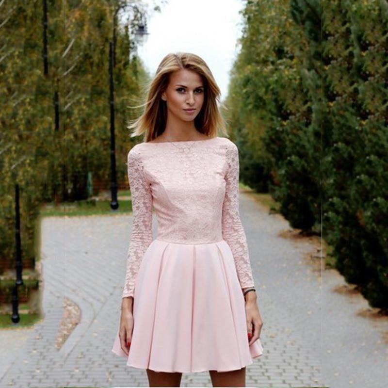 Sexy Mini Long Sleeves Formal Evening Dresses Pink Short Prom Gowns V Back Gala Dress Vestidos Para Formatura Vestido Gala Mujer