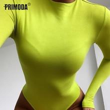 Neon Green Bodysuit Mujer Basic O-neck Sexy Skinny Long Sleeve Body Casual Streetwear White Black Bodycon Romper Overall PR1406G