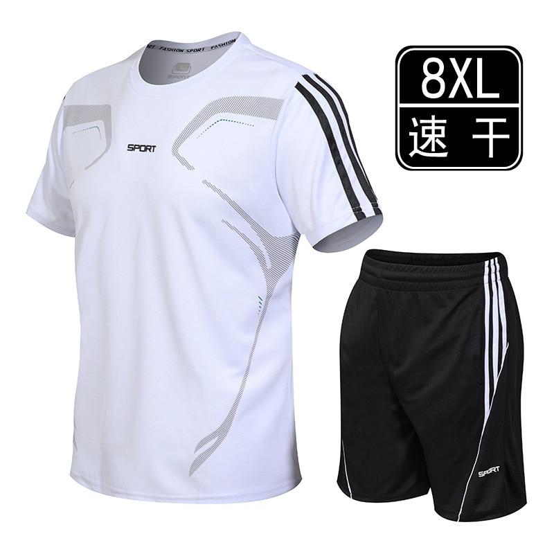Summer Men Leisure Set Short Sleeve Plus-sized Fat Trunks For Men Slim Fit Fitness Suit