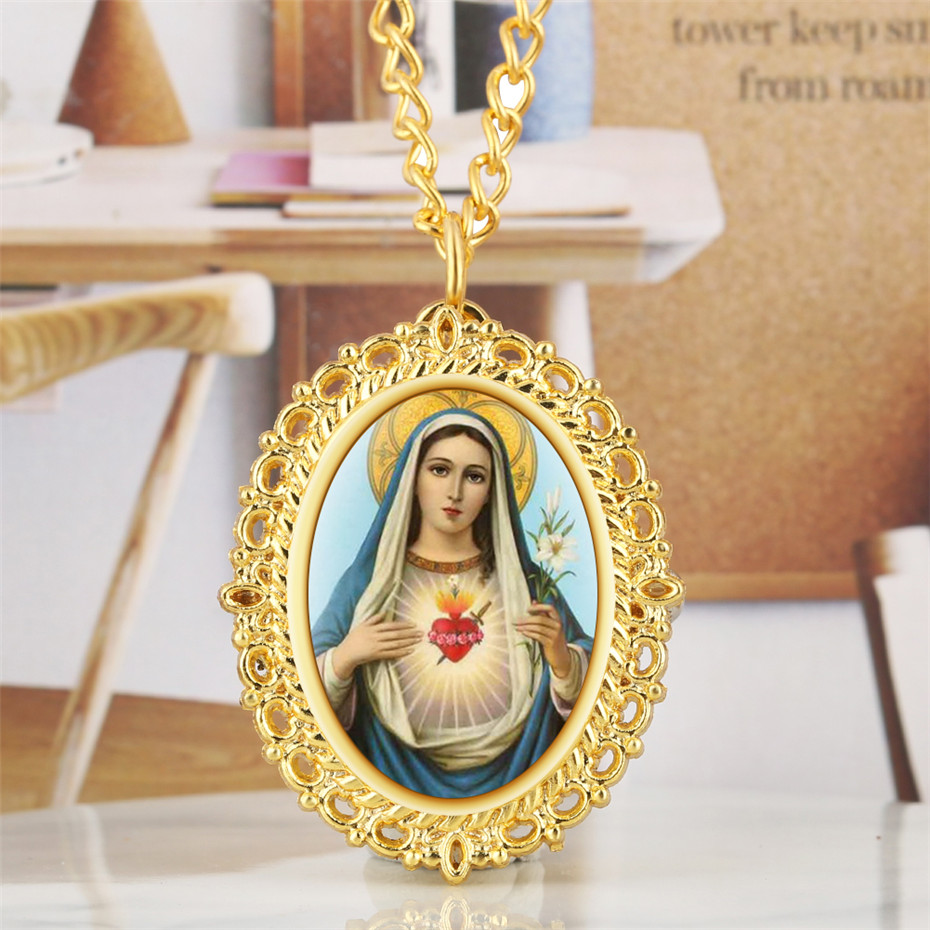 Exquisite Gold/Bronze Virgin Mary Design Quartz Ladies Pendant Necklace Watch Arabic Numerals Display Oval Pocket Watches Gifts