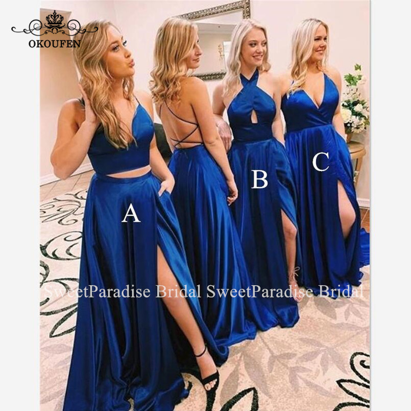 Royal Blue Long Bridesmaid Dresses Sexy Side Split Spaghetti Strap Backless Wedding Guest Dress For Women Vestido Madrinha