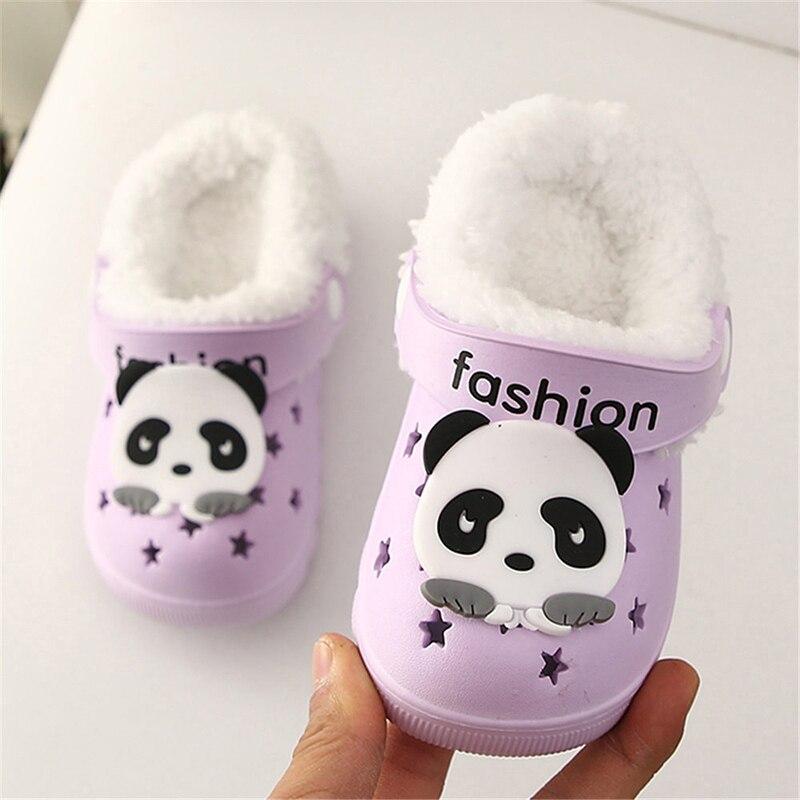 Детские сандалии; детские тапочки; сезон лето-осень; обувь для малышей; Домашние сабо с вырезами; обувь для пляжа и сада; съемная шерстяная нескользящая обувь - Цвет: purple 2