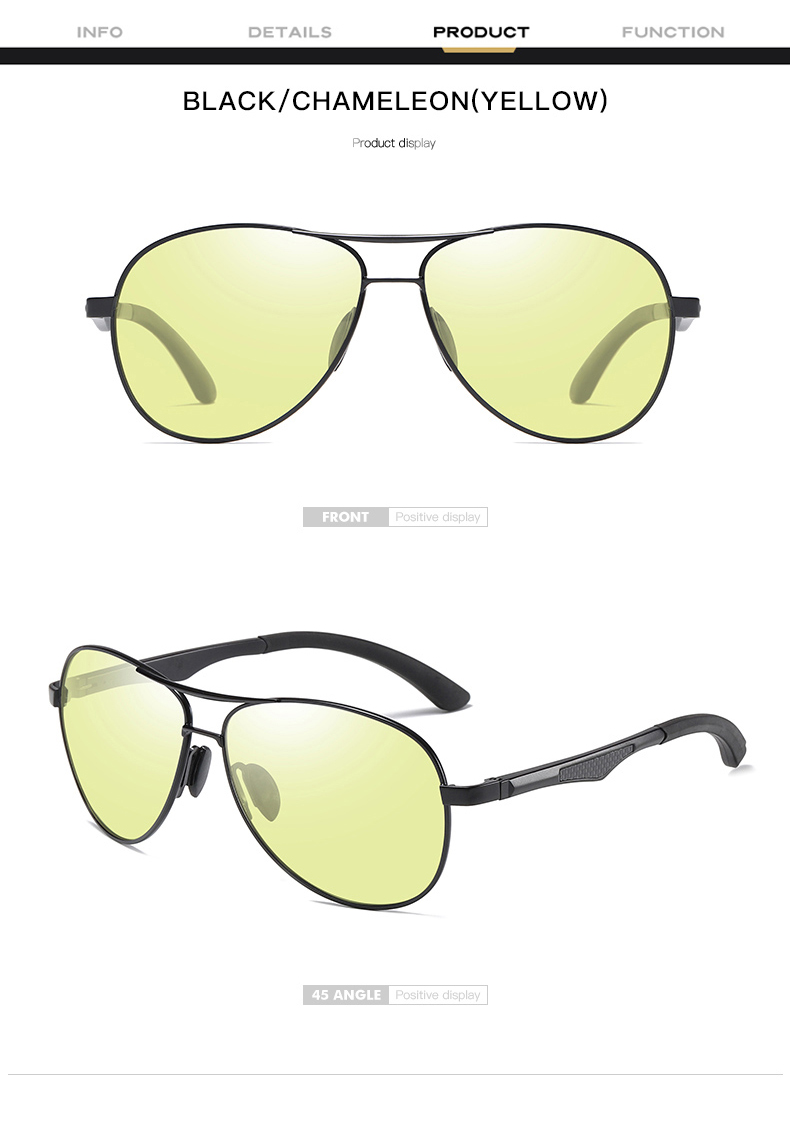 H7fae8ff5d0944c14b94ea44f17fbaab1I 2020 Aviation Driving Photo chromic Sunglasses Men Polarized Eyewear Glasses Women Day Night Vision