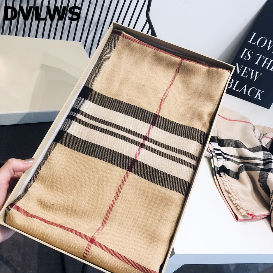 Luxury Brand Autumn Winter Imitation Cashmere Scarf Women New Classic Plaid Blanket Scarf And Shawl Dual-use Pashmina  8 Colors