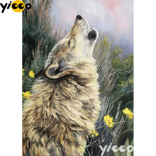 Full Square/Round drill diamond Painting wolf howl 5D DIY diamond embroidery mosaic Decoration painting AX0111 full square round drill diamond painting a cup of coffee 5d diy diamond embroidery mosaic decoration painting ax0111