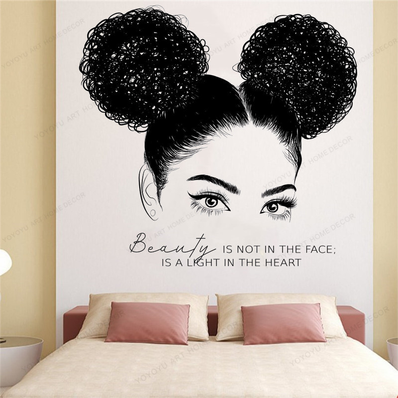 Beautiful African Woman Wall Decal African Girl Wall Sticker Quote Beauty Salon Wall Art HS164