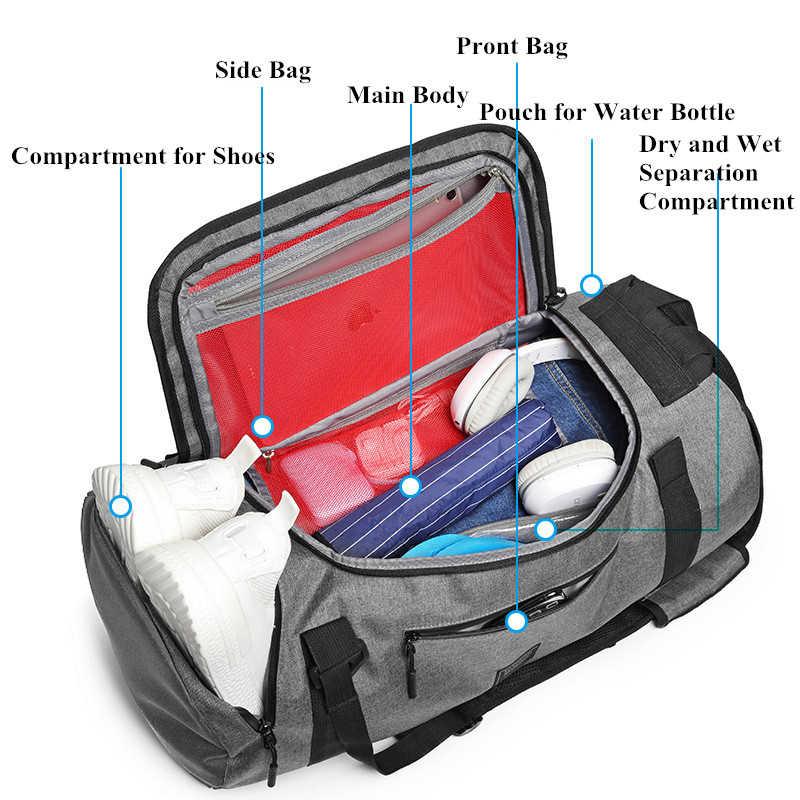 22 inç spor çanta çok fonksiyonlu erkek spor çantaları kadın spor çantaları Laptop sırt çantaları el seyahat saklama çantası ayakkabı cebi ile Yoga