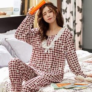 Image 2 - BZEL Cotton Checked Pajamas Womens Fashion Sleepwear Sets Cute Pink Pijamas Round Neck Femme Pyjamas Plus Size Nightwear M XXXL