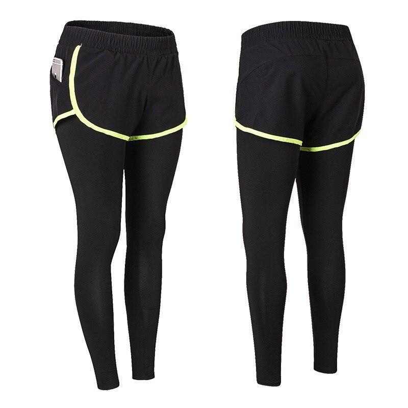 2019 New Fake 2 Pcs Running Women High Waist Workout Trainning Pant Fitness Sportswear Female Black Lengths Gym Leggings Yoga in Yoga Pants from Sports Entertainment