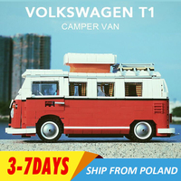 21001 Volkswagen T1 Camper Van Building Block Sy1174 Creator Expert Technology 10220 Bela10569 LED Light Toy for Children Gifts