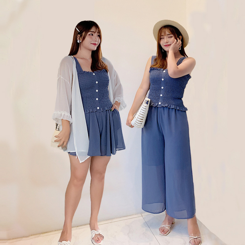 Large Size Dress Summer Fat Mm Fashion Leisure Suit Chubby By Age Slimming Sexy Chiffon Western Style Two-Piece Set
