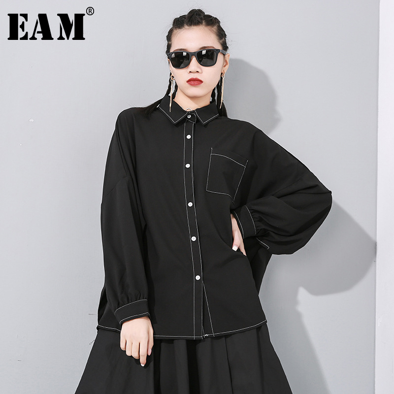 [EAM] Women Black Line Split Joint Big Size Blouse New Lapel Long Sleeve Loose Fit Shirt Fashion Tide Spring Autumn 2020 1N489