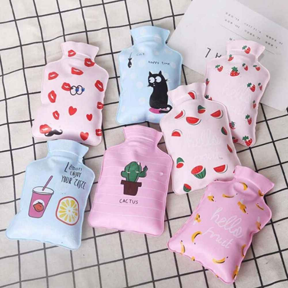 1pc Hand Warmer Hot Water Injection Storage Bag Tools Cute Mini Hot Water Bottle Portable Cartoon Fruit Water Injection Bottle