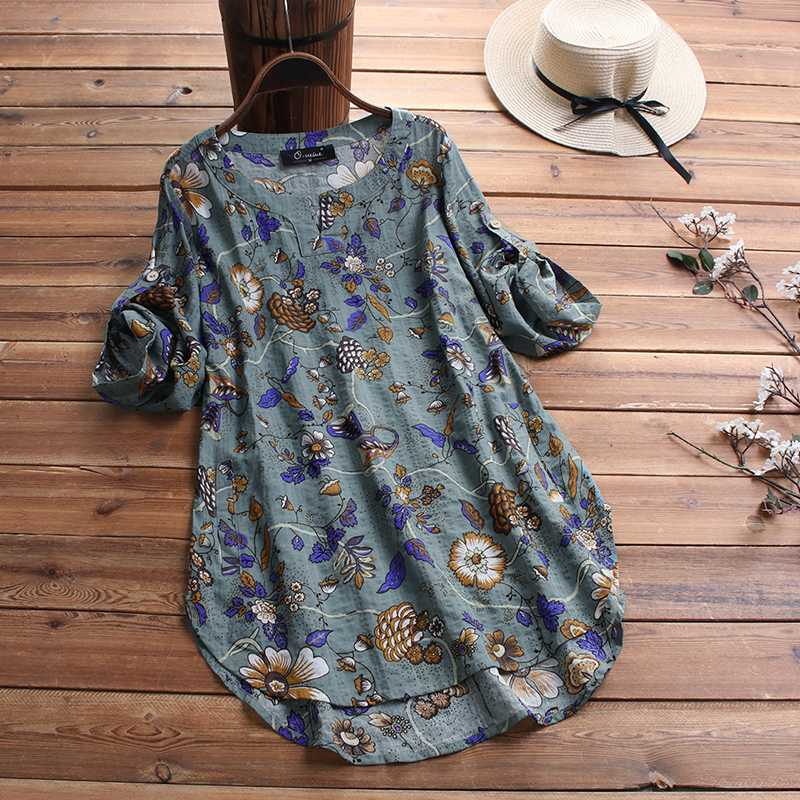 Women's Floral Blouse 2020 ZANZEA Kaftan Printed Tops Summer Cotton Blusas Female O Neck 3/4 Sleeve Tunic Irregular Tops 5XL