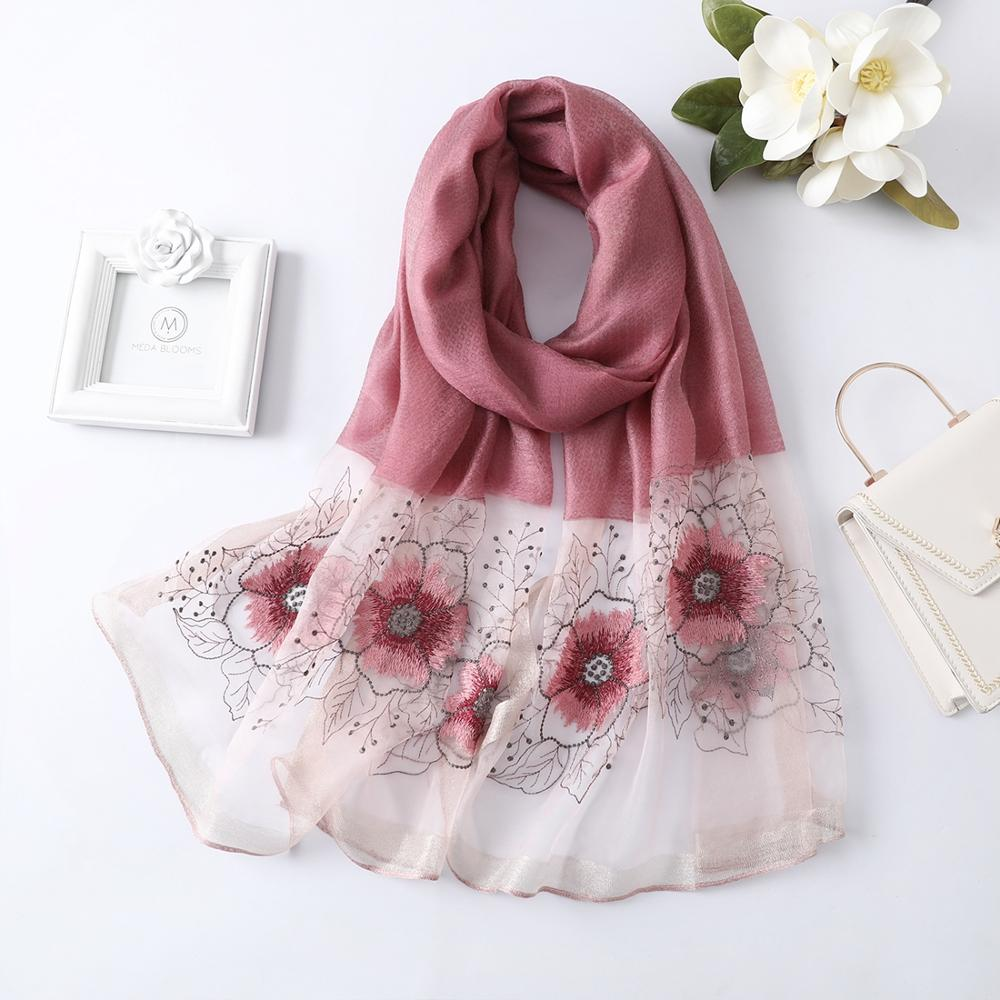 2019 Spring Autumn Ladies Silk Scarf Embroider Scarves Shawl And Wraps Long Flower Scarf For Women Pashmina Scarves