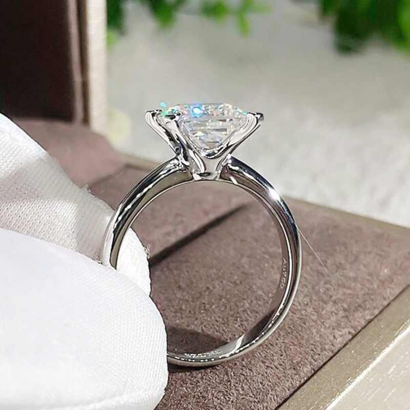 2019 คลาสสิกหมั้นแหวนสแควร์สีขาว Cubic Zircon ผู้หญิงโรแมนติกงานแต่งงานแหวนเครื่องประดับขาย Hot คุณภาพสูง