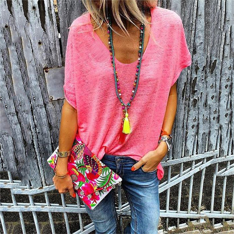 Summer Candy Color V-neck Short-sleeved Casual T-shirt Bottoming Shirt Top