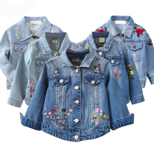 Kids Girl Denim Jacket Coat Flower Embroidery New Fashion Ch