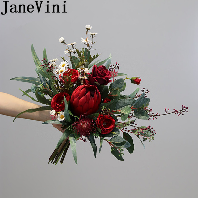 JaneVini Red Emperor Flower Burgundy Peony Roses Wedding Bouquet Fleur Mariage Vintage Bride Artificial Flowers Bridal Bouquets