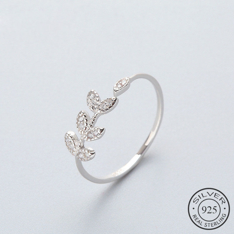 Classic Olive Zircon Leaves Ring High Quality 925 Sterling Silver For Women Wedding Fine Jewelry Accessories 2020Gift