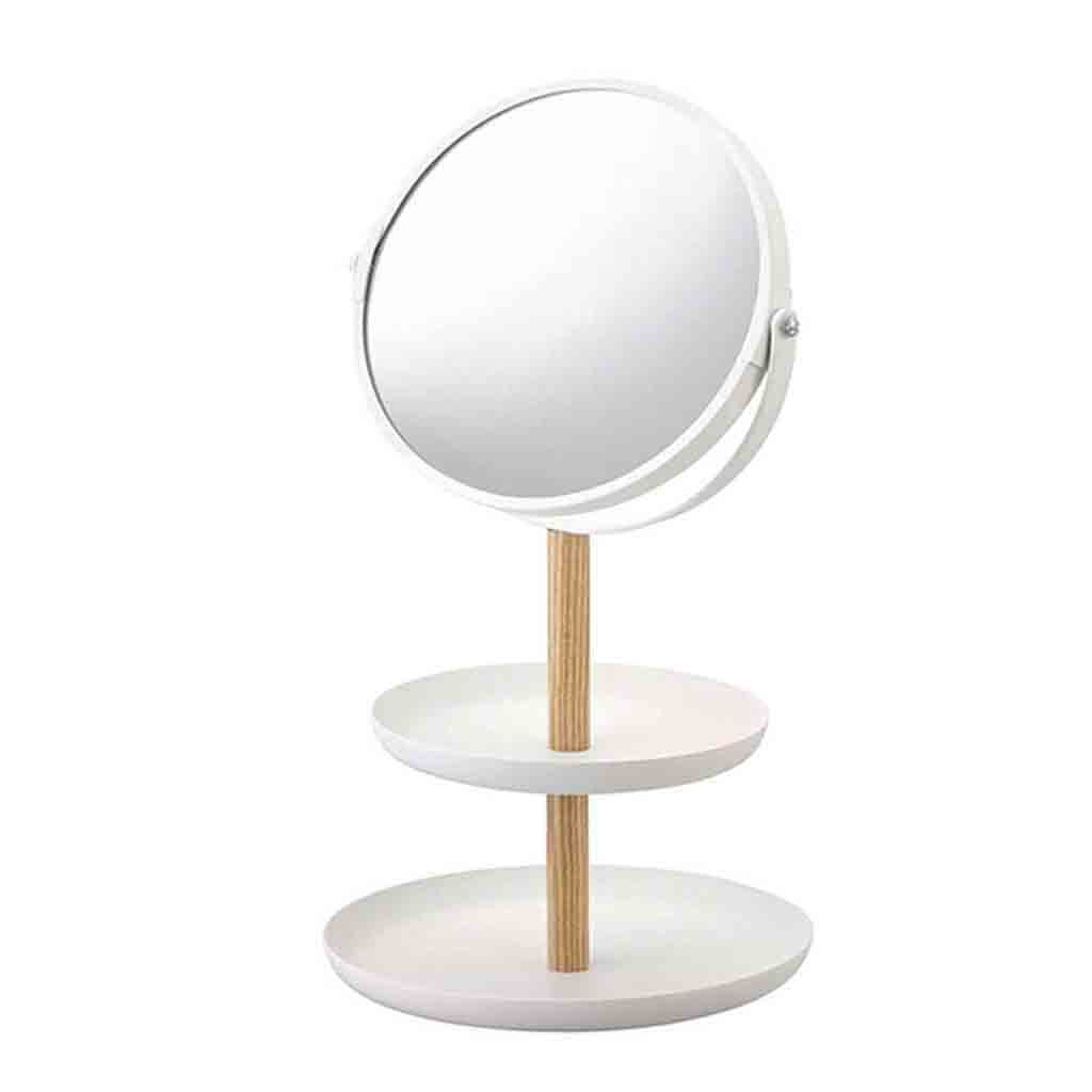Makeup Mirror With Magnifying Makeup Mirror Storage Tray Stand Double Side Rotation Esktop Make Up Mirror White Oct(China)