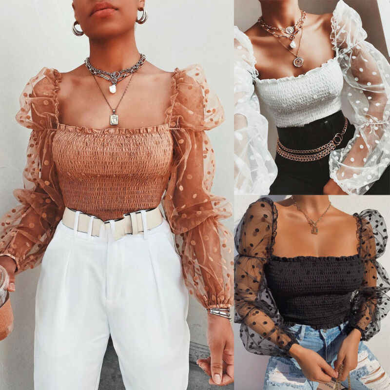 Sexy Vrouwen Gerimpelde Backless Blouse Shirt Mesh Sheer Puff Mouwen Wrap Borst Tops 2020 Lente Zomer Dames Dots Blouse