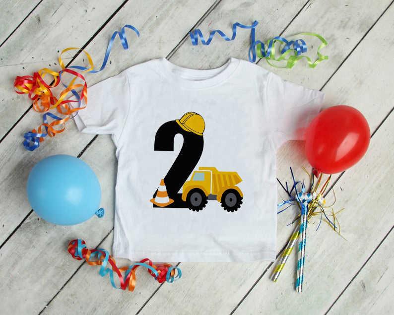 เด็กเสื้อยืดเด็กแขนสั้นExcavatorเสื้อเด็กแฟชั่นTshirt 1 2 3 4 5 ปีการก่อสร้างวันเกิดเสื้อ