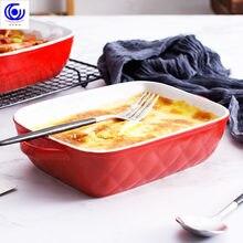 Plat à fromage en céramique multicolore créatif, plat rectangulaire/carré, bol de four occidental, haute température 600C