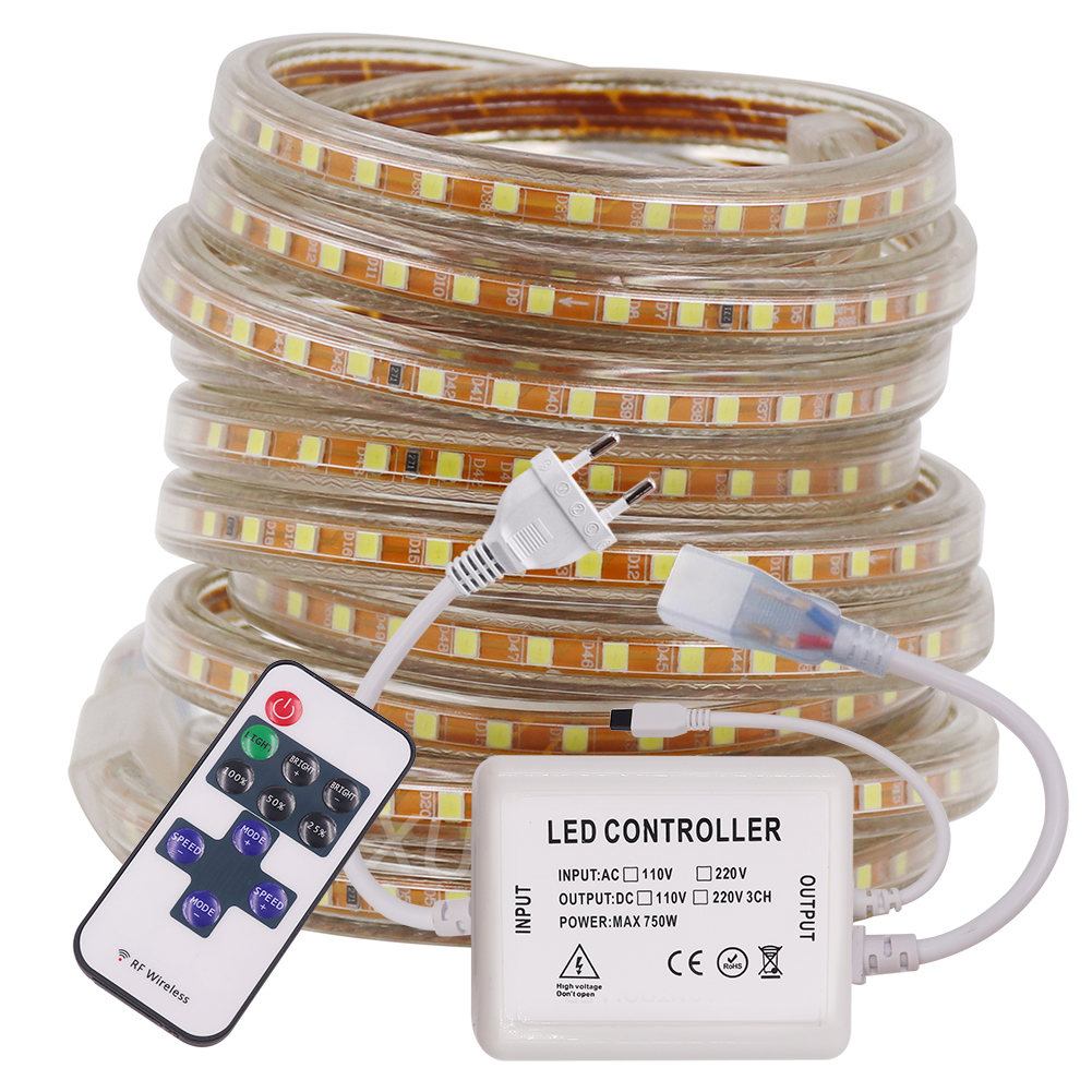 2835 LED Strip Waterproof 120leds/m LED Diode Ribbon Tape Lamp Stripe Led Light With Dimmer EU Plug 220V Red Green Blue White