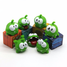 7pcs/set Cut The Rope Om Nom Candy Gulping Monster Toys Figure With Sound Rope Frog Vinyl Rubber Android Games Doll For Baby Kid поло print bar om nom